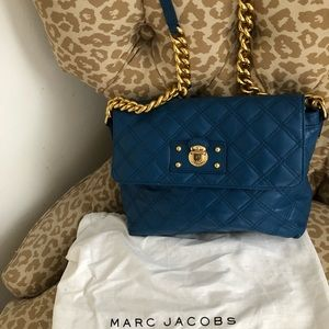 MARC JACOBS turquoise leather quilted handbag